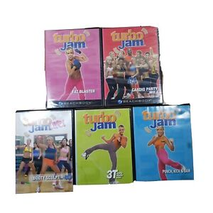 5 Turbo Jam Lot of DVDs Fat Blaster Cardio Party Mix 3 Turbo Jam 3T Booty Sculpt