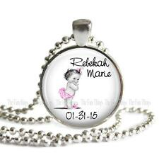 Custom New Baby Daughter Pendant or Charm Personalized Name Date Announcement