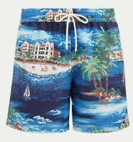 Polo Ralph Lauren Mens Designer Havana 5 1/2 Traveler Board Short Swim Trunk Blu