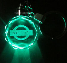 Car Logo LED night Light color changing crystal Key Chain Keychain For nissan