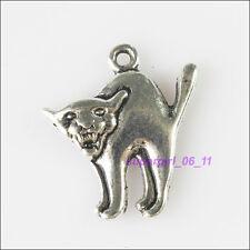 5Pcs Tibetan Silver Halloween Cat Charms Pendants 18.5x20.5mm