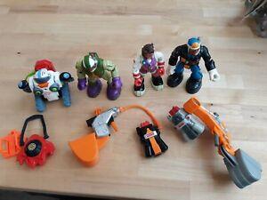 3 Fisher Price Rescue Heroes Lot of Figures, talking Robot & Backpacks & shovels