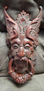 "GARGOYLE GOTHIC DOOR KNOCKER cast iron LARGE 20"" vintage satan HEAVY"