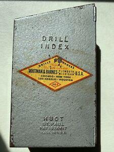 Vintage 29 Piece W&B Whitman Barnes Metal Box DRILL INDEX Bit Set 1/16-1/2 USA