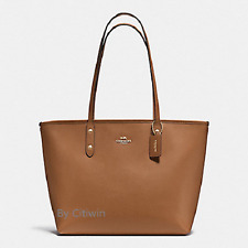 New Coach F58846 Crossgain Leather City Zip Tote Handbag Purse Bag Saddle Brown