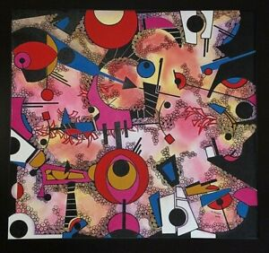 Angel Alfonso Rompecabezas Mixed Canvas 36X39 Original Painting Cuban Art 2016