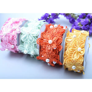 1Y Small Flower Embroidery Trim Lace Beaded Mesh Ribbon Dress Clothing Sewing