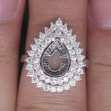 Pear 8.5×11.8mm Solid 14K White Gold Natural Diamond Semi Mount Engagement Ring