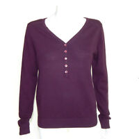 NWT SUTTON STUDIO Bloomingdales Purple Half Button V-Neck Sweater sz L /1978