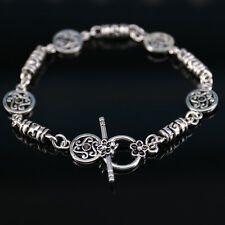 Retro Unisex Antique Silver Engraved Beaded Bangle Cuff Bracelet Couple Jewelry