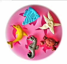 Dolphin Crab Angel Fish Seahorse Starfish Silicone Mold for Fondant Chocolate