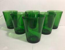 6 Vintage Vereco France Emerald Green 6 oz Juice Glasses - NEAR MINT Condition