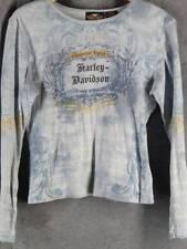 Harley Davidson Large Long Sleeve Light Blue Print Shirt Top