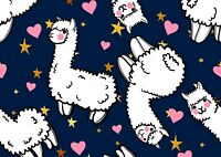 Stary Love Hearts Cute Llama Poster Print Size A4 / A3 Animals Poster Gift #8348