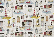 BLACKOUT MTM ROMAN BLIND PRESTIGIOUS SEASIDE LIGHTHOUSE VINTAGE BLUE RED SAND