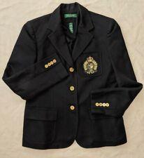 Ralph Lauren Crown Crest Logo Embroidered Blazer Jacket Women's Size 8P Petite