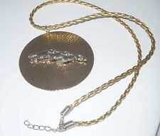 Woven Gp Medallion w 3 Sp Greyhounds or Whippets, Braided Gold Leather Necklace