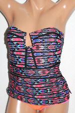 *NEW Island Escape Black Multi Cutout Bandeau Swimsuit Tankini Top Sz 8 #I14