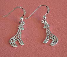 925 Sterling Silver Giraffe Earrings - Giraffe Animal Dangle Earrings