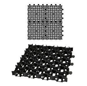 4x Rasengitter 50x50cm schwarz Kies Waben Rasen Steine Paddock Platten Matten