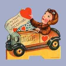 Vintage Valentine Card Valentine'S Day 1920s Automobile Car Take Heart Germany