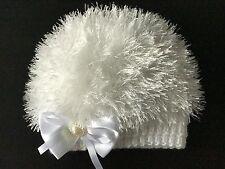 Hand Knitted Baby Girls White Eyelash  Wool  Beanie Hat  0 - 3 months  'NEW'