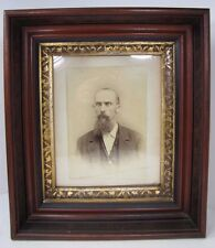 Antique PICTURE FRAME BEARDED GENTLEMAN Thick Deep Layered Wood Gold Inset Dtl