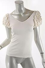 ANAESSIA Ivory Low Back Stretch T-Shirt w/ Puffy Short Sleeves- Size Small- $450