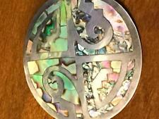 Sterling Abalone Deco 16 Gr Brooch Large Vintage Rare Signed By Mexican Artist