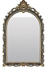 """NEW French Antique Style Arched Crown Carved Black & Gold Leaf Wall Mirror 41""""H"""