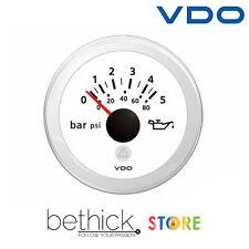 INDICATORE PRESSIONE OLIO MOTORE VDO VIEWLINE BIANCO 12/24v 0-5BAR/0-80PSI BARCA