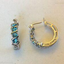 Y23 Silver hoop earrings (18k white gold gf) aquamarine gems Plum UK 21x4mm BOXD