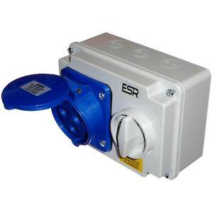 32A 3 Pin Interlocked Socket Switch 220-250V 32 Amp Weatherproof IP44 2P+E 240V