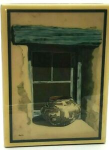 Vtg Mary Wyant Fine Navajo Art Crystal Tile 8X6 Pottery In A Window AS IS