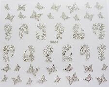 Nail Art 'Silver Lace Swirls Butterflies' Self Adhesive Wrap Sticker Decals 006