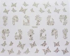 "Nail Art' Plata Encaje remolinos Mariposas ""Self Adhesive Wrap Etiqueta calcomanías 006"