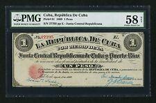 """""""PMG-58 NET"""" 1869 Junta Central Republicana de Cu-- y Puerto Rico 1 Peso P-61"""
