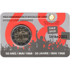 NEW !!! Coin Card 2 EURO COMMEMORATIVO BELGIO 2018 Rivolta Studentesca (Francia)