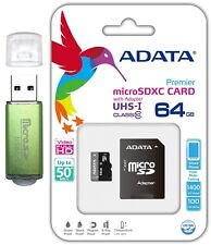 Adata 64Gb Micro Sd Hc Class 10 Memory Card For GoPro Hero5 Phone Galaxy A3 A5
