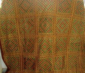 Handmade bedspread multicolor embroidered cotton bedding silk thread vintage art