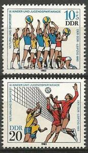 Germany (East) 1983 MNH Children's Sports Day Leipzig Volleyball SG-E2532/33
