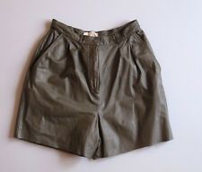 "Vintage 90s high waist Leather Shorts 8 Green 22"" Cut Offs"
