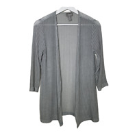 Chicos Travelers 0 Womens Cardigan Sweater 3/4 Sleeve Open Front Gray Size Small