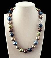 Seltene Riesige 14mm Echte Multicolor Runde Südsee Muschel Perlenkette 18''