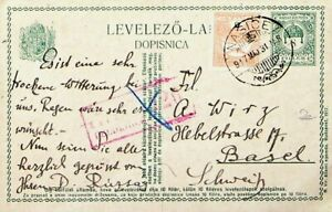 HUNGARY 1931 5f UPRATED POSTAL CARD NASICE TO SWITZERLAND W/FELDKIRCH ACCHET