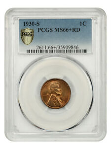 1930-S 1c PCGS MS66+ RD - Lincoln Cent - High-End Gem!