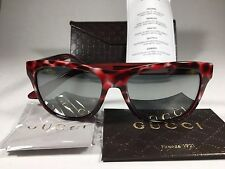 New Authentic Gucci Sport Sunglasses Red Havana Leopard Gray Mirror Lens GG3709