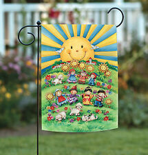 NEW Toland - It's a Small World - Colorful Flower Sun Child Playing Garden Flag