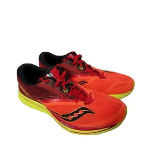 Saucony Mens Sz 11.5  Kinvara 9 Running Shoes Orange Red Neon Lace Up Low Top
