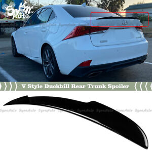 FITS 14-2020 LEXUS IS300 IS350 GLOSSY BLACK V STYLE DUCKBILL REAR TRUNK SPOILER